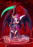 1girl armor bat_wings beam_scythe covered_navel death_(entity) finger_licking green_eyes gundam gundam_deathscythe_hell_custom gundam_wing gundam_wing_endless_waltz highres licking magic_circle mecha_musume mechanical_wings pointy_ears purple_hair scythe skin_tight thigh-highs tongue tongue_out wings yin_gren