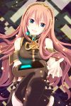 1girl armband asymmetrical_sleeves bare_shoulders belt black_detached_sleeves black_legwear black_skirt blue_eyes breasts brooch detached_sleeves gem grin hair_between_eyes head_tilt headphones highres jewelry large_breasts legs_crossed lips long_hair looking_at_viewer megurine_luka midori126 multiple_belts open_mouth outstretched_hand parted_lips pink_hair sapphire_(stone) single_detached_sleeve single_sleeve sitting skirt sleeveless sleeveless_turtleneck smile solo thigh-highs turtleneck very_long_hair vocaloid