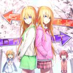 3girls arrow artist_signature back-to-back bat_hair_ornament blonde_hair blue_eyes bow bowtie cardigan cherry_blossoms chisaki_tapris_sugarbell copyright_name cross_of_saint_peter dress dual_persona expressionless flower gabriel_dropout green_eyes hair_flower hair_ornament hair_ribbon hair_rings hands_in_pockets hands_together hood hoodie kurumizawa_satanichia_mcdowell long_hair long_scarf looking_at_viewer messy_hair multiple_girls necktie open_mouth pink_cardigan pleated_skirt redhead ribbon sak_(pixiv) school_uniform serafuku shaded_face short_hair skirt smile tenma_gabriel_white white_dress