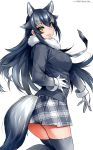 1girl animal_ears black_hair black_legwear blue_eyes breast_pocket breasts fur_collar gloves grey_wolf_(kemono_friends) happa_(cloverppd) heterochromia kemono_friends long_hair long_sleeves looking_at_viewer medium_breasts multicolored_hair necktie pocket simple_background skirt solo tail thigh-highs two-tone_hair white_background wolf_ears wolf_tail yellow_eyes