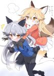 /\/\/\ 2girls animal_ears black_bow black_bowtie black_gloves black_legwear black_skirt blonde_hair blue_jacket blush bow bowtie brown_eyes commentary_request ezo_red_fox_(kemono_friends) fox_ears fox_tail fur_trim glomp gloves grey_hair hair_between_eyes hug hug_from_behind jacket kemono_friends leaning_forward long_hair long_sleeves multiple_girls open_mouth orange_jacket pantyhose pleated_skirt silver_fox_(kemono_friends) skirt tail takahashi_tetsuya translated white_bow white_bowtie white_skirt