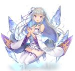1girl bare_shoulders bent_knees blush boots braid breasts crystal detached_sleeves dress elf emilia_(re:zero) flower full_body hair_flower hair_ornament hair_ribbon hayama_eishi long_hair long_sleeves looking_at_viewer medium_breasts open_mouth pointy_ears re:zero_kara_hajimeru_isekai_seikatsu ribbon short_dress silver_hair solo thigh-highs thigh_boots violet_eyes white_boots white_dress wide_sleeves