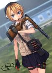 1girl blonde_hair blue_eyes blurry blurry_background cowboy_shot dreadtie gloves gun headset highres looking_at_viewer original school_uniform short_hair shotgun shotgun_shells signature sleeves_rolled_up solo thigh_strap weapon