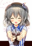 1girl ^_^ ^o^ beret blush closed_eyes coffee commentary_request drink drinking_straw employee_uniform hair_between_eyes hat heart holding kantai_collection kashima_(kantai_collection) lawson short_hair short_sleeves silver_hair smile solo speech_bubble translation_request two_side_up uniform yadapot