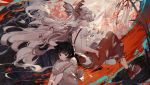 2girls bamboo bamboo_forest bangs black_hair black_legwear bow chains character_name cigarette collared_shirt commentary_request eyebrows_visible_through_hair fire floating floating_hair forest fujiwara_no_mokou fujiwara_no_mokou_(young) grey_eyes hair_bow hands_in_pockets japanese_clothes kawacy leg_hug light_frown long_hair long_sleeves looking_down multiple_girls muted_color nature ofuda outdoors pants profile red_eyes red_pants red_shoes sad shirt shoes short_hair short_sleeves smoke smoking socks suspenders torn_clothes torn_shirt torn_sleeves touhou very_long_hair wavy_hair white_background white_bow white_hair white_shirt wide_sleeves wind