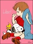 1boy beagle bird black_border blanket border character_name highres horizontal_stripes linus_van_pelt noaki peanuts pink_background red_shirt shirt signature simple_background sitting snoopy striped striped_shirt thumb_sucking woodstock yokozuwari