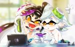 +_+ 2girls aori_(splatoon) artist_name black_hair blurry brown_eyes chichi_band cousins depth_of_field detached_collar domino_mask earrings fangs food gloves grey_hair hotaru_(splatoon) jewelry long_hair mask mole mole_under_eye multiple_girls nintendo_switch open_mouth parted_lips pointy_ears short_hair sitting splatoon strapless sushi tentacle_hair watermark white_gloves