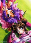 1998 2girls 90s blue_eyes brown_hair cherry_(saber_j) cherry_(saber_r) crossover dated from_above furudori_yayoi gloves headdress long_hair long_sleeves looking_at_viewer lying multiple_girls official_art on_back on_ground parted_lips purple_hair saber_marionette_j saber_marionette_r smile twintails