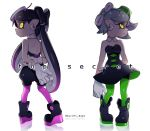 +_+ 2girls ankle_boots aori_(splatoon) arm_behind_back bangs black_boots black_dress black_jumpsuit boots closed_mouth cousins detached_collar domino_mask dress earrings english food food_on_head from_behind full_body gloves glowing glowing_eyes green_legwear grey_hair highres hotaru_(splatoon) jewelry long_hair looking_at_viewer looking_back mask mole mole_under_eye multiple_girls object_on_head pantyhose pointy_ears puchiman purple_legwear reflection short_dress short_hair short_jumpsuit simple_background smile splatoon standing strapless strapless_dress sushi tentacle_hair unitard white_background white_gloves