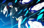 1boy belt black_jacket black_pants black_ribbon blue_eyes blue_hair chains dress_shirt hair_between_eyes hands_in_pockets headphones highres jacket neck_ribbon nekominase open_clothes open_jacket pants persona persona_3 ribbon school_uniform shirt short_hair thanatos white_shirt yuuki_makoto