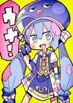 1girl ahoge animal_hat blue_hair blush_stickers dress eel eel_hat fang green_background hair_ornament hat holding long_hair looking_at_viewer low_twintails open_mouth otomachi_una sailor_collar short_sleeves simple_background smile solo tera twintails very_long_hair vocaloid