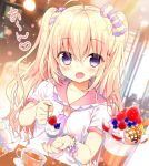 1girl ahoge bangs blonde_hair blouse blush bow cafe cherry collarbone cup eyebrows_visible_through_hair feeding food fruit hair_between_eyes hair_bow hair_ornament hair_scrunchie heart holding holding_spoon ice_cream long_hair looking_at_viewer open_mouth original sailor_collar saucer scrunchie short_sleeves smile solo speech_bubble sundae teacup teapot twintails upper_body violet_eyes white_blouse yadapot