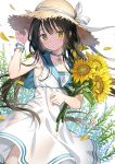 1girl bangs black_hair blush closed_mouth collarbone cowboy_shot dress eyebrows_visible_through_hair flower green_eyes hand_on_headwear hand_up hat holding holding_flower long_hair looking_at_viewer low_twintails original petals rie_(reverie) sailor_collar sailor_dress solo straw_hat sun_hat sunflower twintails white_dress