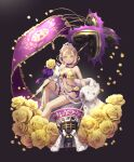 1girl bikini black_background blonde_hair bow braid briar_rose_(sinoalice) cape closed_mouth crown doll flag flower fur_trim green_eyes highres holding holding_weapon looking_at_viewer nagi_(nightmare-cat) petals plant racequeen rose short_hair simple_background sinoalice sitting smile solo swimsuit thorns vines weapon yellow_flower yellow_rose