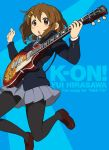 1girl brown_eyes brown_hair gibson guitar hirasawa_yui instrument jumping k-on! les_paul norizou pantyhose plectrum revision school_uniform short_hair solo