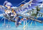 1girl ah-64_apache aircraft assault_rifle bazooka blue_hair breasts clouds day firing gun headgear helicopter highres large_breasts mecha_musume mechanical_wings ocean original red_eyes rifle shell_casing skin_tight visor weapon wind_turbine windmill wings yin_gren