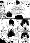 1girl 3boys all_might boku_no_hero_academia child comic freckles greyscale happy highres hug iida_tenya laughing midoriya_izuku monochrome multiple_boys school_uniform shirt smile speech_bubble suko_(sko_numa) t-shirt text todoroki_shouto translation_request uraraka_ochako younger