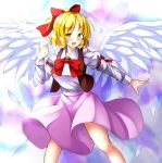 1girl :d aka_tawashi bangs blonde_hair blush bow bowtie breasts commentary_request eyebrows_visible_through_hair feathered_wings feathers gengetsu hair_bow highres juliet_sleeves long_sleeves looking_at_viewer medium_breasts open_mouth pink_skirt puffy_sleeves red_bow red_bowtie short_hair skirt smile solo touhou touhou_(pc-98) white_wings wings yellow_eyes