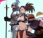 1girl 2boys alternate_costume armor bare_shoulders bikini_armor black_hair blonde_hair boku_no_hero_academia breastplate breasts capelet cleavage from_side gauntlets hair_ornament headband iida_tenya knight lance medium_breasts midriff multiple_boys navel ninja ojiro_mashirao polearm ponytail qosic shoulder_armor sleeveless weapon yaoyorozu_momo