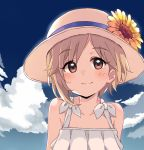 10s 1girl aiba_yumi bare_shoulders blue_sky blush brown_eyes brown_hair clouds cloudy_sky day dress eyebrows_visible_through_hair flower hat hat_flower highres idolmaster idolmaster_cinderella_girls kirarin369 looking_at_viewer outdoors short_hair sky sleeveless sleeveless_dress smile solo sun_hat sundress sunflower upper_body white_dress