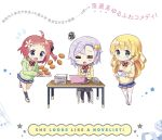3girls ahoge bangs black_legwear blonde_hair blunt_bangs blush book_stack bow bowtie bread cardigan chair chibi closed_eyes closed_mouth coffee coffee_cup computer computer_mouse crossed_arms english eyebrows_visible_through_hair flying_sweatdrops food fukuchi_kaori green_eyes green_hood hair_bun hibino_yuika holding holding_plate hood hoodie hoshizawa_nabi jk_shousetsuka_poi kneehighs kurou_(quadruple_zero) laptop lavender_hair loafers long_hair looking_at_viewer multiple_girls open_mouth paper plaid_bowtie plate pleated_skirt red_bow red_bowtie redhead saucer school_uniform shoes short_hair side_bun sigh skirt smile squiggle star sweater swept_bangs table thigh-highs translation_request tripping very_long_hair violet_eyes white_background white_legwear white_shoes wooden_chair wooden_table yellow_sweater zettai_ryouiki