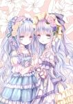 2girls arm_ribbon bangs blue_eyes blue_hair bonnet choker collarbone commentary_request cover cover_page doujin_cover dress flower frilled_dress frilled_skirt frills hair_flower hair_ornament hair_ribbon hairband hand_holding heterochromia himemurasaki jewelry lily_(flower) lolita_fashion lolita_hairband long_hair looking_at_another looking_at_viewer multicolored_hair multiple_girls necklace original pinky_ring purple_hair ribbon skirt smile violet_eyes wristband