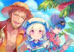 1girl 2boys alternate_costume bare_chest beard blue_eyes blue_hair book braid caster_(fate/extra_ccc) caster_of_red facial_hair fate/apocrypha fate/extra fate/extra_ccc fate/grand_order fate_(series) hat lei long_hair looking_at_viewer multiple_boys nursery_rhyme_(fate/extra) open_clothes open_shirt redhead shirt smile sunglasses sunglasses_on_head twin_braids twintails upper_body writing