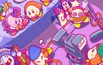 1boy @_@ backwards_hat baseball_cap beanie blade_knight blue_hat boom_microphone bow bowtie cappy_(kirby) coattails gloves hat headphones instrument kirby kirby_(series) mask meta_knight microphone mini_hat mini_top_hat official_art pauldrons stage top_hat video_camera violin waddle_dee wire