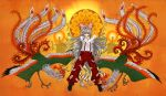 birds bow fujiwara_no_mokou hair_bow long_hair ofuda pants phoenix red_eyes ribbon ribbons silver_hair smile standing suspenders touhou tsurui very_long_hair white_hair wink