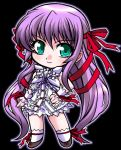 chibi demonbane green_eyes hair_ribbon hair_ribbons long_hair nakagami_takashi purple_hair ribbon ribbons takashi_(pixiv)