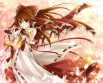 :o ascot bad_id bare_shoulders between_fingers bow brown_eyes brown_hair butterflies butterfly detached_sleeves hagiwara_rin hair_bow hakurei_reimu japanese_clothes leaf maple_leaf midriff miko ofuda ribbon ribbons touhou wide_sleeves