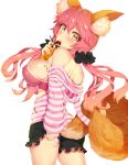 1girl animal_ears bare_shoulders breasts caster_(fate/extra) fate/extra fate_(series) fox_ears fox_tail highres large_breasts long_hair looking_at_viewer looking_to_the_side pink_hair ratio_(ratio-d) shirt shorts sideboob solo striped striped_shirt tail thighs yellow_eyes