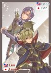 2boys armor arrow blonde_hair bow_(weapon) breastplate cape elbow_gloves fire_emblem fire_emblem_echoes:_mou_hitori_no_eiyuuou fire_emblem_gaiden fire_emblem_if gloves grin leo_(fire_emblem) leon_(fire_emblem_if) looking_at_viewer multiple_boys pauldrons purple_hair quiver renkonmatsuri smile violet_eyes weapon