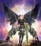 1girl armor armored_dress bangs black_wings feathered_wings full_body gauntlets greaves grey_eyes hairband holding holding_sword holding_weapon long_hair looking_at_viewer momose_hisashi original pink_hair solo standing sword very_long_hair weapon wings