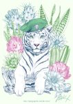 cactus flower green_eyes hat log looking_at_viewer military_hat no_humans original signature takigraphic tiger watermark web_address white_background white_tiger