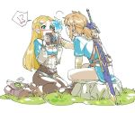!? 1boy 1girl black_legwear blonde_hair blue_eyes blush braid covering_mouth earrings eye_contact eyebrows flower flower_on_head french_braid frog full_body grass hair_flower hair_ornament hairclip hand_on_another's_head heart jewelry link long_hair looking_at_another pants pointy_ears ponytail princess_zelda rock sheikah_slate shuri_(84k) simple_background sitting smile sword the_legend_of_zelda the_legend_of_zelda:_breath_of_the_wild thought_bubble weapon white_background