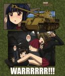 ! !? 3girls ? ankle_boots bangs black_boots black_hair black_hat black_jacket black_legwear blue_eyes blunt_bangs boots brown_hair colored_pencil_(medium) comic dress_shirt emblem english extra garrison_cap girls_und_panzer ground_vehicle hat jacket kneeling kuromorimine_(emblem) kuromorimine_military_uniform long_hair long_sleeves looking_at_another military military_hat military_uniform military_vehicle miniskirt motor_vehicle multiple_girls open_mouth pleated_skirt red_shirt red_skirt shirt short_hair sitting skirt socks spoken_exclamation_mark spoken_interrobang spoken_question_mark sweatdrop tank tank_interior toyomaru traditional_media trembling uniform vehicle_request violet_eyes