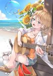 1girl blue_eyes blush breasts brown_hair cat cleavage collarbone denim denim_shorts eyebrows_visible_through_hair flower food fruit guitar holding holding_instrument instrument jewelry large_breasts looking_at_viewer necklace open_mouth short_hair shorts sitting smile solo summer_lesson sunflower tom_sun watermelon
