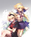2girls ahoge alternate_costume arm_at_side arm_behind_back bangs black_sailor_collar black_shirt black_skirt blonde_hair blue_bow blue_sailor_collar blue_skirt blush bow braid breasts collarbone commentary_request crossed_arms eyebrows_visible_through_hair fate/apocrypha fate_(series) flower hair_between_eyes hair_bow hair_ornament hand_up jeanne_alter legs_together lily_(flower) long_hair looking_at_another matsuki_ringo miniskirt multiple_girls neckerchief pleated_skirt ruler_(fate/apocrypha) sailor_collar school_uniform serafuku shirt short_hair short_sleeves single_braid sitting skirt sleeve_cuffs standing thigh-highs very_long_hair violet_eyes white_flower white_legwear white_shirt yellow_eyes