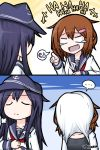 >_< ... 10s 2girls 2koma :d adjusting_clothes adjusting_necktie akatsuki_(kantai_collection) anchor_symbol artist_name brown_hair comic crying crying_with_eyes_open empty_eyes eyebrows eyebrows_visible_through_hair fang flat_cap hair_ornament hairclip hat highres ikazuchi_(kantai_collection) kantai_collection laughing long_hair long_sleeves multiple_girls necktie open_mouth pout purple_hair raythalosm red_necktie school_uniform serafuku short_hair smile spoken_ellipsis tank_top tears twitter_username xd
