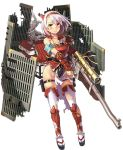 1girl aizuwakamatsu_(oshiro_project) antique_firearm architecture armband armor breastplate castle east_asian_architecture firearm full_body gun hairband holding holding_weapon horns kekemotsu looking_at_viewer no_panties official_art oshiro_project oshiro_project_re red_eyes rifle scope shachihoko short_hair smile thigh-highs torn_clothes torn_thighhighs transparent_background wavy_mouth weapon white_hair