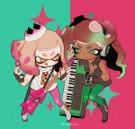 2girls :p black_gloves black_hair clenched_hand copyright_name crop_top crown dark_skin electric_guitar fingerless_gloves gloves gradient_hair green_background green_eyes guitar highres hime_(splatoon) iida_(splatoon) instrument keijou_(cave) keyboard_(instrument) long_hair looking_at_another multicolored_hair multiple_girls pink_background plectrum short_hair simple_background smile sparkle splatoon splatoon_2 tentacle_hair tongue tongue_out two-tone_background white_hair yellow_eyes