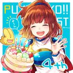1girl anniversary arle_nadja blue_background brown_hair cake candle cape carbuncle_(puyopuyo) closed_eyes creature facing_viewer food half_updo holding_cake kuroda_(kuro_yyy) madou_monogatari open_mouth puyo_(puyopuyo) puyopuyo red_cape short_hair shoulder_pads smile upper_body