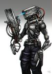 arm_cannon bayonet blade cable commentary_request cyberpunk gia gun highres knife mecha no_humans original pants police realistic robot science_fiction signature solo weapon