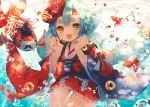 1girl :d abandon_ranka bangs blue_hair blush brown_eyes bubble eyebrows fish goldfish headband kingyohime mask mask_on_head onmyoji open_mouth parted_bangs smile solo thigh_strap underwater wide_sleeves