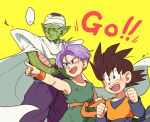 +++ ... 3boys :d black_eyes black_hair blue_eyes cape child clenched_hands crossed_arms dougi dragon_ball dragonball_z green_skin happy looking_away male_focus multiple_boys namek nervous open_mouth pants piccolo pointing pointy_ears purple_pants short_hair simple_background smile son_goten spiky_hair sweatdrop text thought_bubble tkgsize trunks_(dragon_ball) turban wristband yellow_background