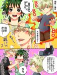 bakugou_katsuki boku_no_hero_academia child comic family fire genderswap genderswap_(mtf) green_eyes green_hair if_they_mated long_hair midoriya_izuku open_clothes red_eyes smile translation_request yukamarco