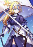 1girl armor armored_dress bell black_gloves blonde_hair blue_eyes braid breasts capelet chains fate/apocrypha fate/grand_order fate_(series) faulds flag gauntlets gloves headpiece large_breasts looking_at_viewer ruler_(fate/apocrypha) single_braid solo sword thigh-highs weapon yuki_(clydtc)