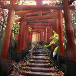 1girl :d absurdres animal_ears autumn_leaves blonde_hair commentary_request doitsuken forest fox_ears fox_girl fox_tail green_kimono head_tilt hiding highres japanese_clothes kimono leaf leaning long_hair looking_at_viewer low_tied_hair multiple_torii nature open_mouth original smile solo stairs tail tongue tongue_out torii yellow_eyes