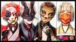 4boys bear_mask bird_mask black_border blue_hair bonnie_(fnaf) border brown_hair bunny_mask chica column_lineup five_nights_at_freddy's food fox_mask foxy_(fnaf) freddy_fazbear grey_eyes grey_eyes heterochromia highres hook_hand instrument japanese_clothes mask microphone multiple_boys personification pink_eyes red_eyes redhead rosel-d shamisen short_hair simple_background smile tray upper_body wagashi white_background yellow_eyes
